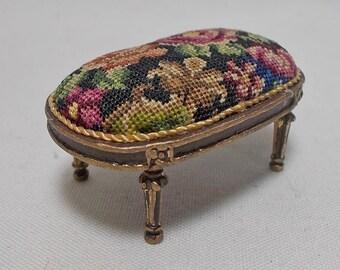 Dollhouse miniature Artisan Bespaq Footstool  in Antique Austrian Petit Point (REF4)