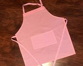 Youth size apron, medium apron, kids apron, childrens apron, childs apron, big kids apron, kitchen apron, light pink polka dot and gingham