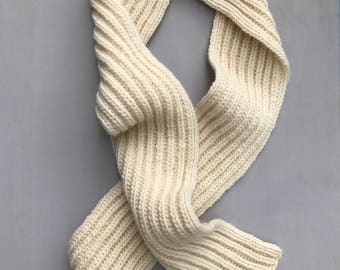 COLLECTION: HAYES Hand Knit Eggshell Wool Scarf