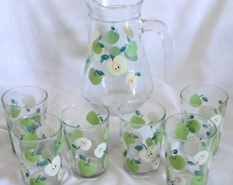 Vintage Lemonade Set - Pitcher and 6 Glasses Green Apples