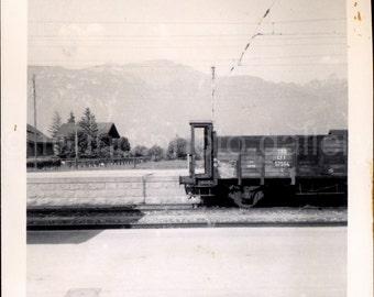 Vintage Photo, Train Car, Black & White Photo, Landscape Photo, Train Tracks, Found Photo, Snapshot, Vernacular Photo