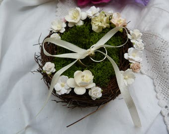 White bird nest ring bearer pillow- with white and ivory flowers and moss - country wedding - woodland wedding