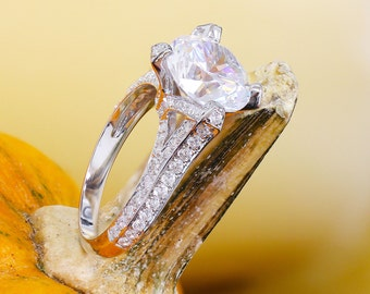 EGL USA H-VS2 14k white gold round cut diamond engagement ring, prong set, anniversary, wedding, propose, bridal, promise, 2.20ct