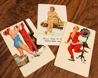 Set of 3 Vintage Hilda Pin Up Playing Cards Pinup Rockabilly