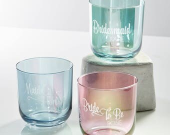 Coloured Personalised Wedding Glass