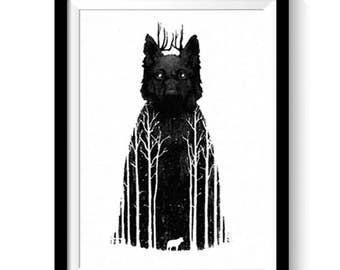WOLF forrest, Game of Thrones inspired art poster - charcoal drawing painting, quick easy gift, print-at-home INSTANT DOWNLOAD