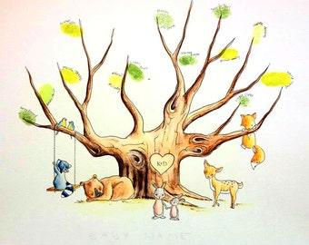Woodland animals nursery Baby shower Guest Book Tree fingerprint tree hand painted custom