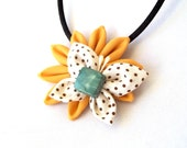 Wearable Fiber Art Butterfly and Flower Kanzashi Pendant Yellow Brown Green Necklace