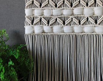 Large Macrame wall hanging on wooden dowel - Bohemian macrame wall Art - Boho Macrame home decor - Tapestry