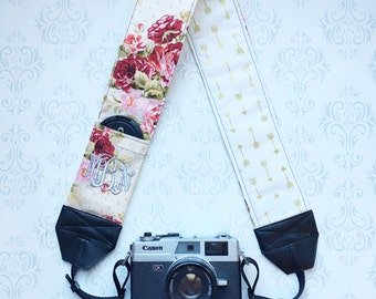 Monogrammed DSLR Camera Strap, Padded, Lens Cap Pocket, Nikon, Canon, DSLR Photography, Photographer Gift, Wedding - Vinyage Floral & Arrows