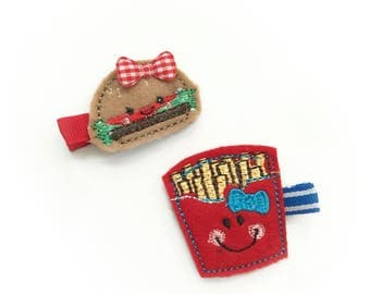 Burger and fries Set Felt embroidery hair clip / baby girl hair clip / girl hair clip / barrette.