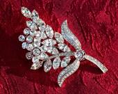 Vintage Crystal Rhinestone Floral Vintage Brooch