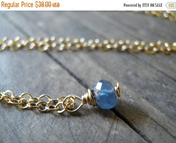 Spring SALE Tiny Blue Sapphire Necklace, Minimalist Necklace, Simple Necklace, Blue Necklace, Gold September Birthstone Necklace, Spring Cle