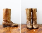 70s Boots 9-9 1/2 • Distressed Boots • Mid Calf Boots • Brown Leather Boots • Vintage Boots • Western Boots • Campus Boots | SH361