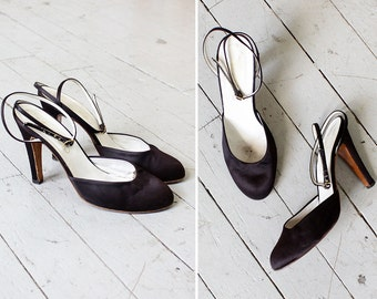 Satin Heels 8 • 70s Shoes Made in Italy • Vintage Heels • Strappy Heels • Italian Shoes • Black Heels • Satin Shoes | SH413