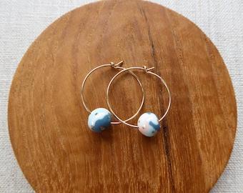 Small Dot Marble Ball Hoop Earrings