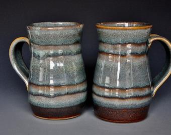 Pair of Large Pottery Mugs Ceramic Beer Stein Handmade Stoneware