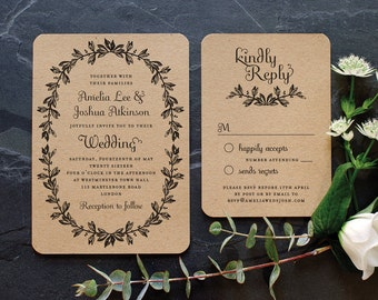 Rustic Recycled Wedding Invitation / 'Vintage Wreath' Elegant Botanical Modern Vintage Invite  / Kraft Manilla Brown Card / ONE SAMPLE