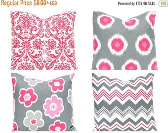 30% Off Sale Throw Pillow Covers - Decorative Pillow - Pink Pillow Covers - Gray Pillow Covers - Polka Dot Pillow - Chevron Pillow Cover - P