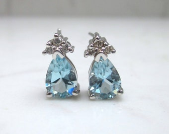 Estate Aquamarine and Diamond Accent Stud Pierced Earrings Set in 14k Solid White Gold