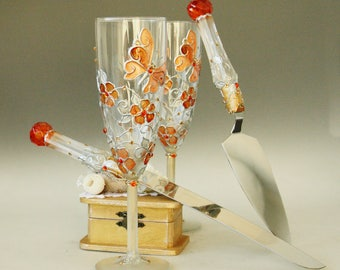 Wedding Cake Server Set Champagne Glasses, Orange Wedding, Butterfly Glasses, Hand Painted