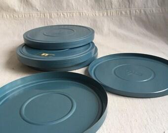 Vintage reel tins  round aqua tins