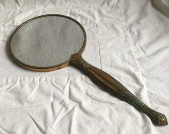 Vintage hand held mirror  vanity mirror  patina mirror  prop mirror