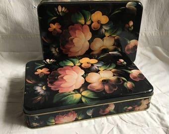 Vintage tin boxes  floral tin box shabby cottage metal box