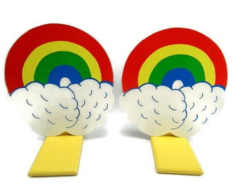 Vintage 80s 90s Rainbow Bookends Wooden Book Ends Children's Nursery Decor Retro