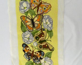 Vintage Butterfly Completed Needlepoint Leaves Flowers -Yellow Green Brown 1980s