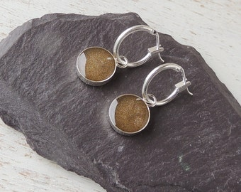 Brown Hoop Earrings, Resin Charm Earrings, Brown Earrings, Resin Jewellery, Brown Jewellery, Charm Jewellery, UK, 2277
