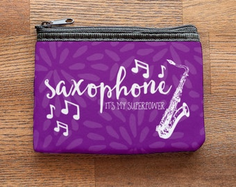 Saxophone is my Superpower Purple Neoprene Coin Purse or Zipper Pouch