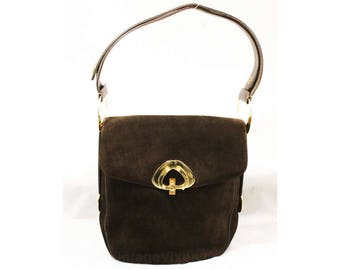 60s Brown Shoulder Bag with Mod Gold Trappings - Chocolate Suede 1960s Purse with Leather Trim - Brassy Hardware - Made in Spain - 48891
