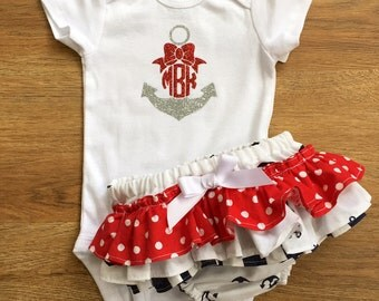 Nautical Ruffle Bloomers with Monogrammed Onesie