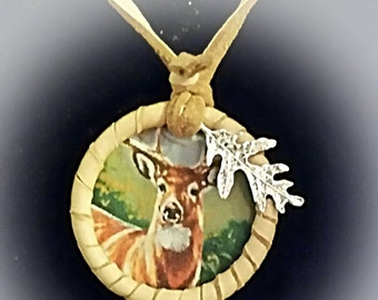 Leather Necklace Pendant Deer NDN Regalia American Indian Buck