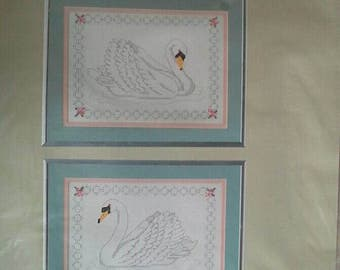 Set of 2 Swans Pictures Something special Counted Cross Stitch Complete Kit