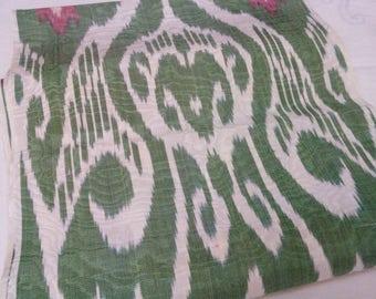 Uzbek traditional handwoven silk ikat fabric Adras. F028