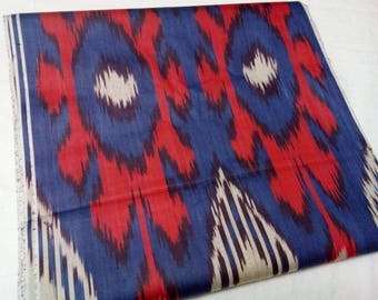 Uzbek traditional cotton woven ikat fabric by meter. F016