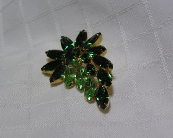 Vintage green and peridot navette exaggerated flower brooch
