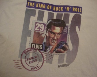 Vintage 90's ELVIS PRESLEY Stamp 1992 Rockabilly Rock Legend White T Shirt XL