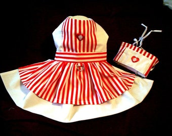 Candy Striper Dress and Hat Costume for Dogs XXXS,XXS,XS,S,M