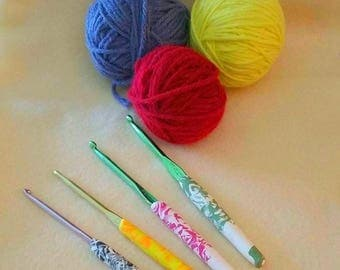 Swirl Polymer Handle Crochet Hook Set