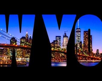 New York City Brooklyn Bridge Skyline at Twilight Night Lights Panoramic Photography Print