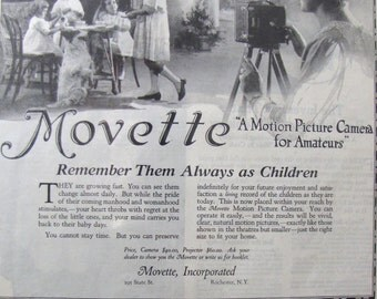 1919 Movette Antique Camera Movie Photography Rochester NY Full Page SEPAd