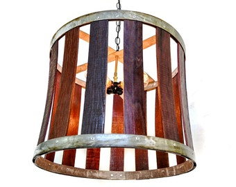 "CRAFTSMAN  - ""Drum"" -  Wine Barrel Chandelier - 100% RECYCLED"