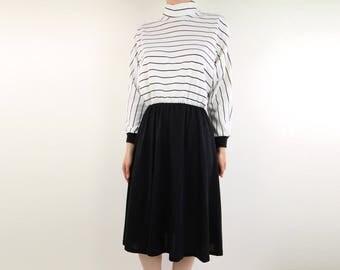 VINTAGE 1980s Black White Stripe Dress Full Skirt