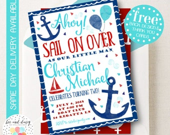 Sailor Invitation, Sailor Birthday Invitation, Sailor Birthday Party, Sailor Party Invitation, Boys Sailing Sail Boat Invite, BeeAndDaisy