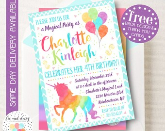 Rainbow Unicorn Invitation, Unicorn Birthday Invitation, Unicorn Birthday Party, Unicorn Party Invitation, BeeAndDaisy