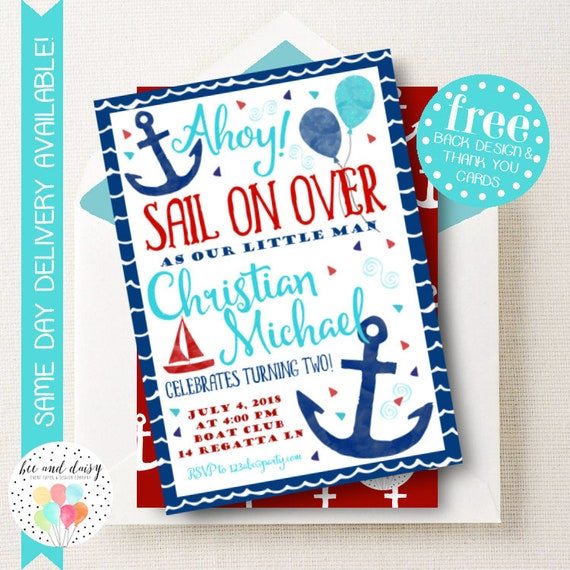 Sailor Invitation for Boys Birthday Party Printable Party Invite