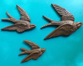 Set of 3 vintage faux wood look Burwood swallows | bird wall hangings.